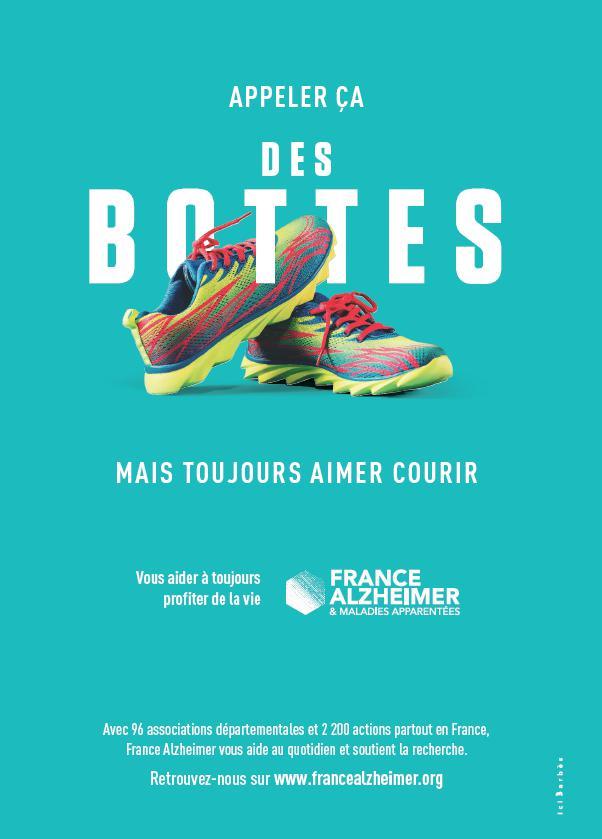 Affiche de la campagne de France Alzheimer - Des baskets prises pour des bottes